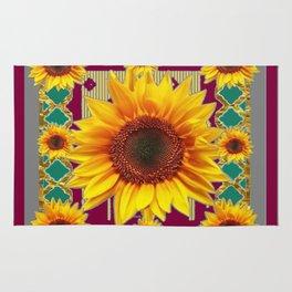 Burgundy-Teal Sunflowers Grey Art Rug