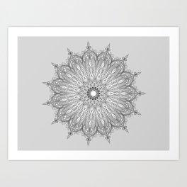 Gray Swirl Mandala light gray Art Print