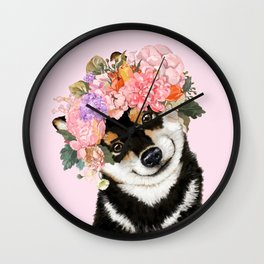 Black Shiba Inu with Flower Crown Pink Wall Clock