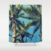 palm tree Shower Curtains featuring Palm Tree by Jillian Stanton
