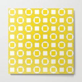 Lemon Yellow Contemporary Bead Pattern Metal Print