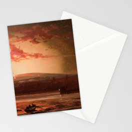 Eruption of Mauna Loa, Hilo Bay, Hawaii landscape painting  by Charles Furneaux Stationery Cards
