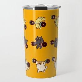 Olympic Lifting Cat Travel Mug