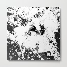 Spilt White Textured Black And White Abstract Painting Metal Print