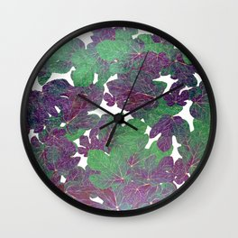 Hand painted abstract gold purple jade green foliage greenery  Wall Clock