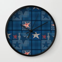 Blue denim patchwork . Wall Clock