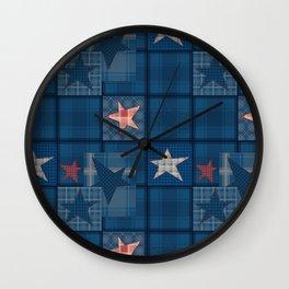 Blue denim patchwork . Wall Clock