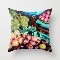 thailand Throw Pillows featuring thailand by nosoulrobot