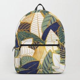 Leaf wall // navy blue pine and sage green leaves golden lines Backpack