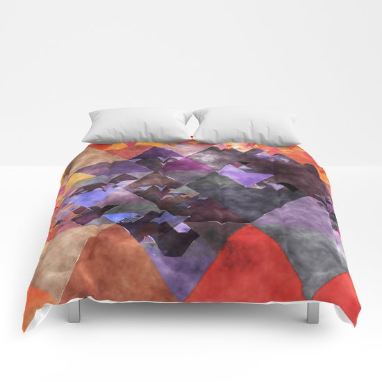 Abstract fire red yellow blue Triangle pattern- Watercolor Illustration Comforters
