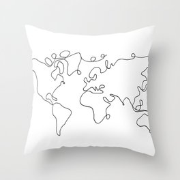 One Line World Throw Pillow