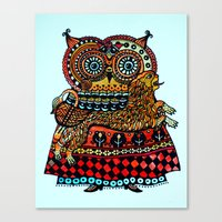 celtic Canvas Prints featuring Celtic owl ! by oxana zaika