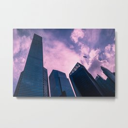 Beautiful view of skyscrapers of the business district in Singapore against purple sky. Metal Print