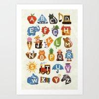 alphabet Art Prints featuring Alphabet by WanderingBert / David Creighton-Pester