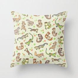 Spring geckos Throw Pillow
