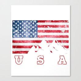 Mountain Climbing USA Flag of America Canvas Print