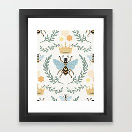 Queen Bee with Gold Crown and Laurel Frame Framed Art Print