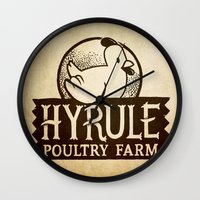 hyrule Wall Clocks featuring Hyrule Poultry Farms by Drake Sauer