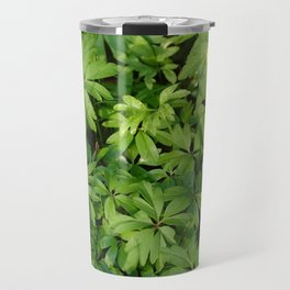 Yellow flowers on Green Travel Mug