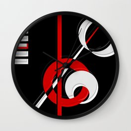 Black and white meets red version 28 Wall Clock