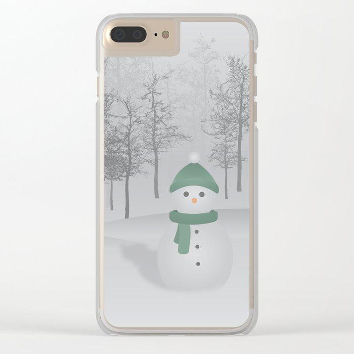 Christmas Snowman Clear iPhone Case