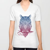 feathers V-neck T-shirts featuring Evening Warrior Owl by Rachel Caldwell