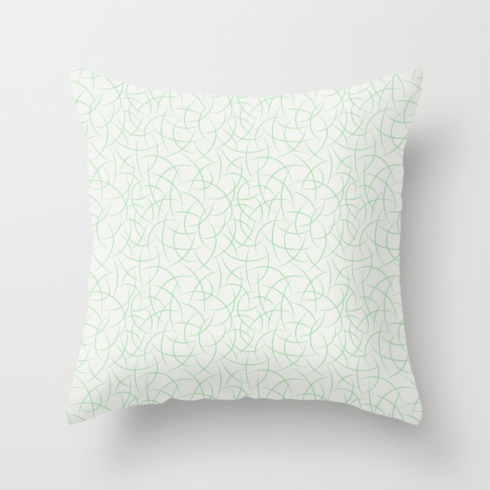 Pastel Mint Green Abstract Crescent Shape Pattern on Off White 2020 Color of the Year Neo Mint Throw Pillow