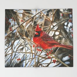 Winter Cardinal by Teresa Thompson Throw Blanket