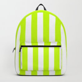 Narrow Vertical Stripes - White and Fluorescent Yellow Backpack