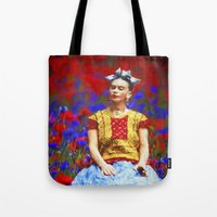 ezra koenig Tote Bags featuring FRIDA dreaming away by UtArt