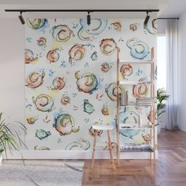 Elephants Pattern Watercolor Whimsical Animals Wall Mural