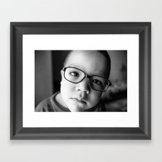 Cute kid with glasses  Framed Art Print