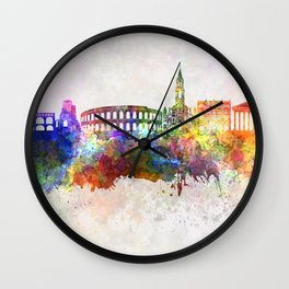 Nimes skyline in watercolor background Wall Clock