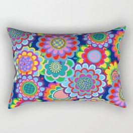 Jewel Tone 70s Floral Rectangular Pillow