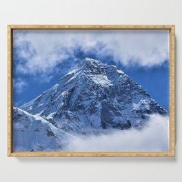 Summit of Mount Everest in clouds Serving Tray