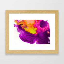 Purple Pink And Chartreuse Abstract Framed Art Print