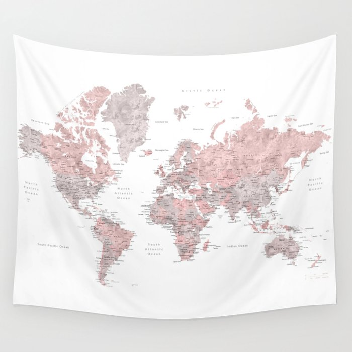Tapestry World Map Dusty pink and grey detailed watercolor world map Wall Tapestry by