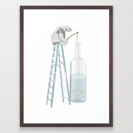 Polar Bear Fishing from a Bottle Framed Art Print
