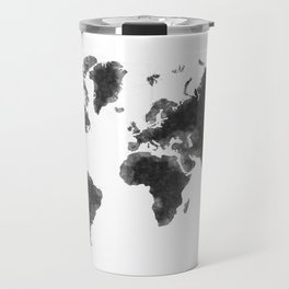 World Map Black Sketch, Map Of The World, Wall Art Poster, Wall Decal, Earth Atlas, Geography Map Travel Mug