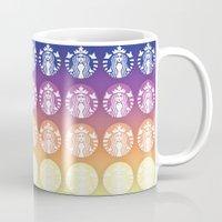 starbucks Mugs featuring Sunset Gradient Starbucks Logo by KJ Designs