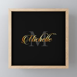 Name and initial of a girl Michelle in golden letters Framed Mini Art Print