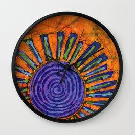 Orange and purple Floral batik Wall Clock