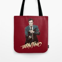 quentin tarantino Tote Bags featuring Quentin by CromMorc
