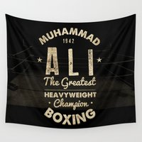 ali gulec Wall Tapestries featuring Boxing Ali Canvas by Maioriz Home