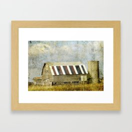 Red, White, and Blue Iowa Barn Framed Art Print