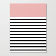 Pinstripe Color Block (Coral) Canvas Print