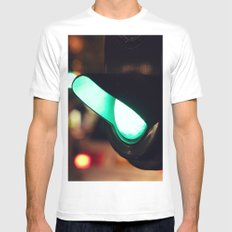 Green light MEDIUM White Mens Fitted Tee