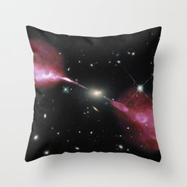 Galaxy Hercules A centered by Massive Black Hole Telescopic Photograph Throw Pillow