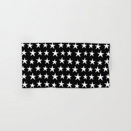 Star Pattern White On Black Hand & Bath Towel