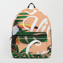 Good Vibes With Tropical Leafs and Toucans Backpack